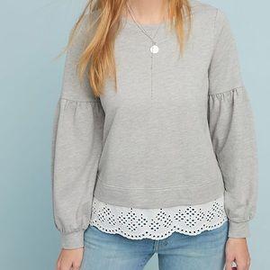 NWT Anthropologie Eyelet Layered Sweatshirt Large
